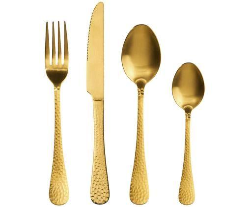 Goldfarbenes Besteck-Set Baronet mit gehämmerten Griffen, 4-teilig, Edelstahl, beschichtet, Messingfarben, Sondergrößen