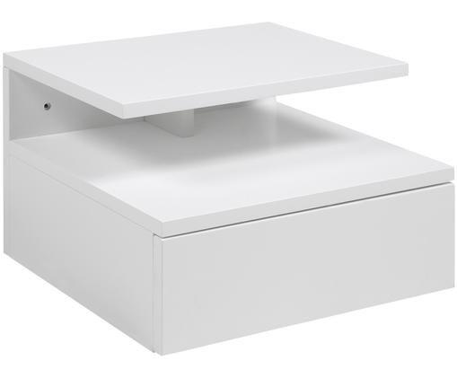 Wand-Nachttisch Ashlan mit Schublade, Weiß, matt