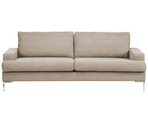 Sofa Milano (2-Sitzer), Gestell: Holz, Beine: Metall, Beige, 187 x 84 cm