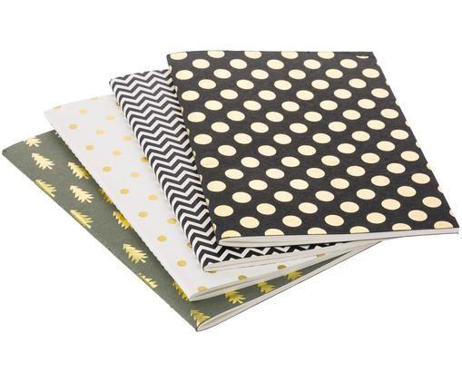 Set de cuadernos Graphics, 4pzas., Gris, negro, blanco, An 21 x Al 15 cm