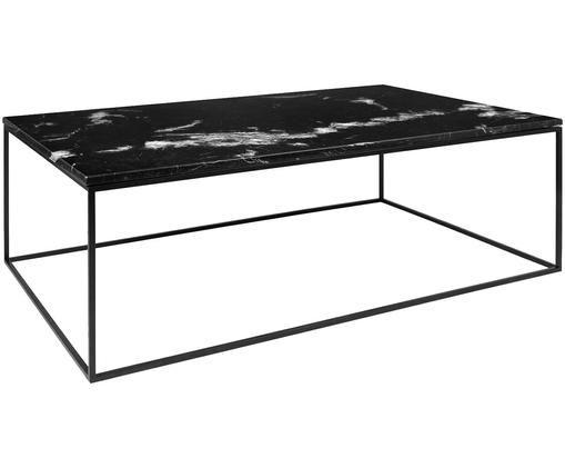 Schwarzer Marmor-Couchtisch Gleam, Tischplatte: Schwarz, marmoriert Gestell: Schwarz