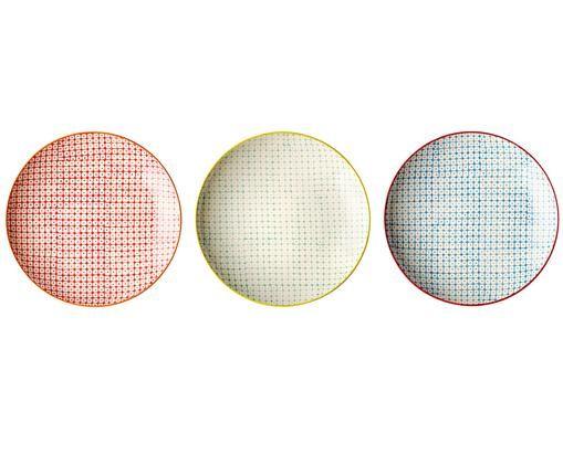Set piatti da colazione Carla, 3 pz., Ceramica, Rosso, verde, blu, Ø 20 cm