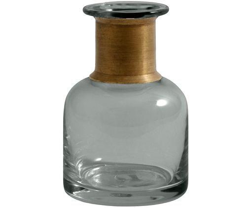 Mundgeblasene Vase Julie, Vase: Glas, Vase: Grau, transparent<br>Verzierung: Messing, Ø 7 x H 11 cm