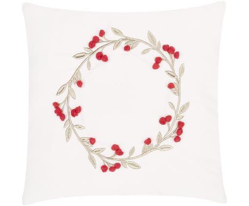 Bestickte Samt-Kissenhülle Christmas Wreath mit verzierenden Bommeln