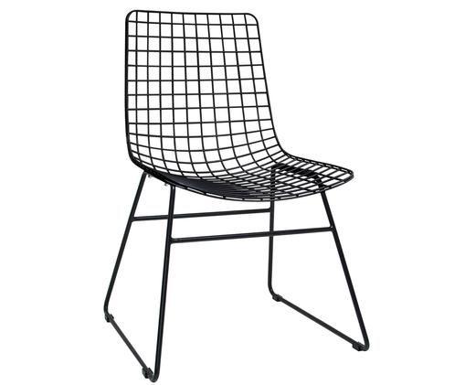 Design-Stuhl Wire aus Metall, Metall, pulverbeschichtet, Schwarz, 47 x 54 cm