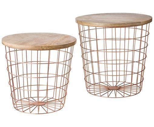 Tablett-Tisch-Set Settle mit Metallkorb, Metall, Holz, Kupferfarben, Braun, Verschiedene Grössen