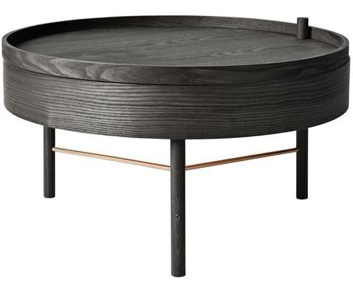 Table basse avec rangement Turning Table, Noir, bois de frêne