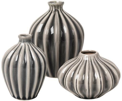 Deko-Vasen-Set Amalie aus Keramik, 3-tlg., Keramik, nicht wasserdicht, Grau, Sondergrößen