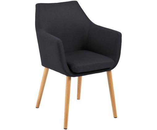 Sedia con braccioli  Nora, Rivestimento: 100% poliestere, Gambe: legno di quercia, Rivestimento: antracite Struttura: legno di quercia, Larg. 58 x Alt. 84 cm
