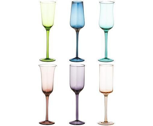 Set flute da champagne in vetro soffiato Desigual, 6 pz., Multicolore