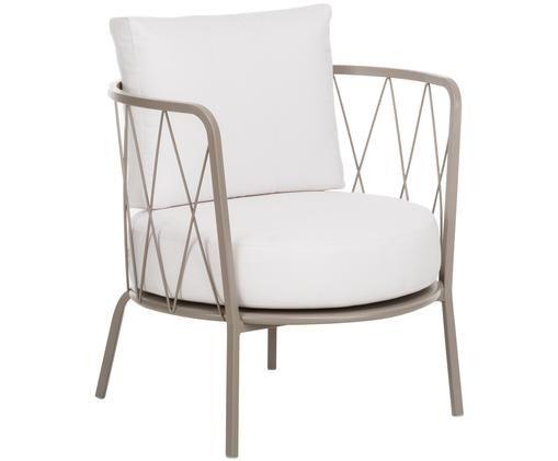 Garten-Loungesessel Sunderland mit Sitzpolster, Gestell: Stahl, galvanisch verzink, Bezug: Polyacryl, Gestell: Taupe<br>Sitz- und Rückenkissen: Creme, 74 x 73 cm