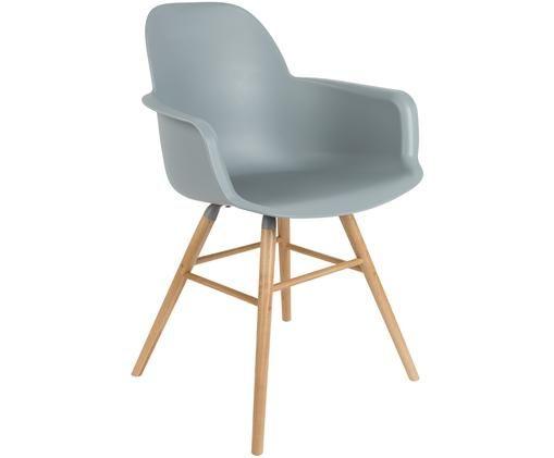 Chaise à accoudoirs Albert Kuip, Assise: gris-bleu Pieds: bois de frêne