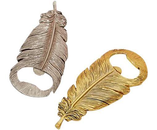 Flesopener-set Feather, 2-delig., Zilverkleurig, goudkleurig