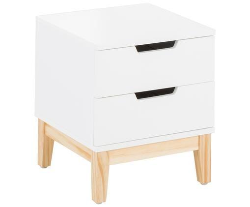 Szafka nocna Buca, Nogi: drewno dębowe, Nogi: drewno dębowe Korpus i front: biały, matowy, 40 x 45 cm