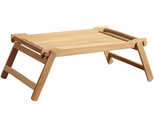 Holztablett Bed in Naturfarben, Teakholz, geschliffen, Teak, B 58 x T 36 cm