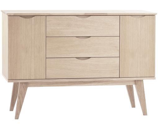 Sideboard Filippa aus Eichenholz, Korpus, Fronten und Beine: Eichenholz, weiß gewaschen, 122 x 85 cm
