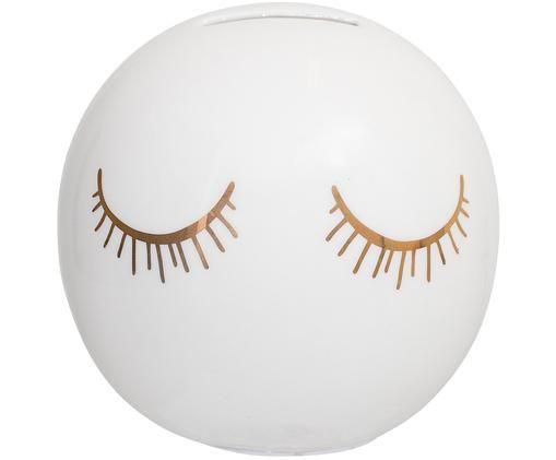 Spardose Lashes, Verschluss: Silikon, Weiß, Goldfarben, Ø 10 x H 10 cm