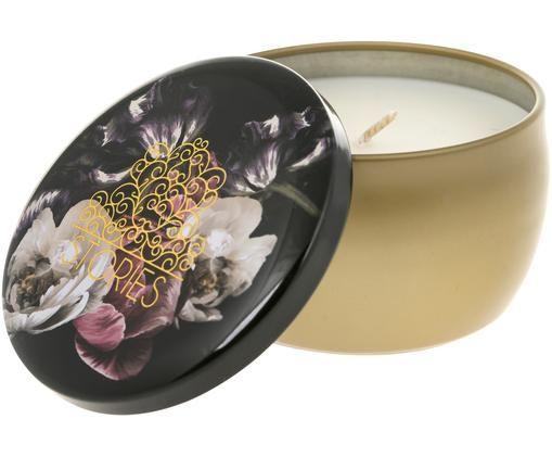 Duftkerze Blume & Stories (Grapefruit & Jasmin), Behälter: Goldfarben Deckel: Mehrfarbig Wachs: Weiß
