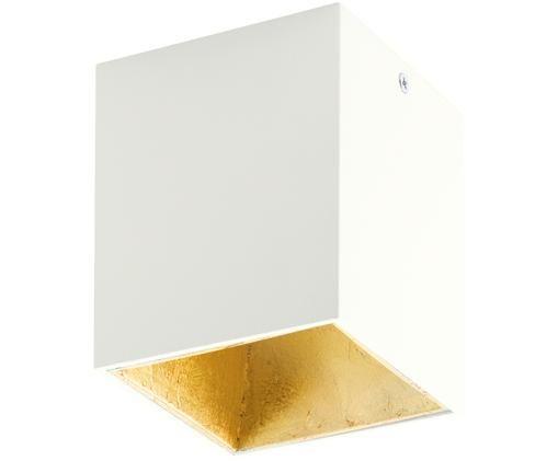 Plafonnier à LED Square, Blanc, couleur dorée