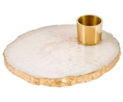 Świecznik Alfa, Żywica, metal, Biały, złoty, Ø 10 x 3 cm
