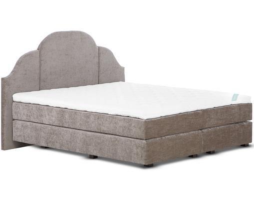 Łóżko kontynentalne z aksamitnym obiciem premium  Gloria, Taupe