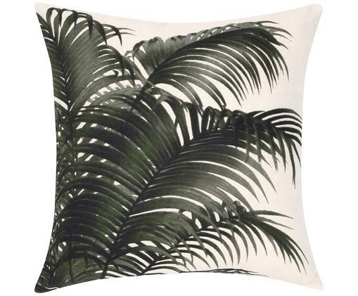 Housse de coussin motif palmier Palmeira, Écru, vert
