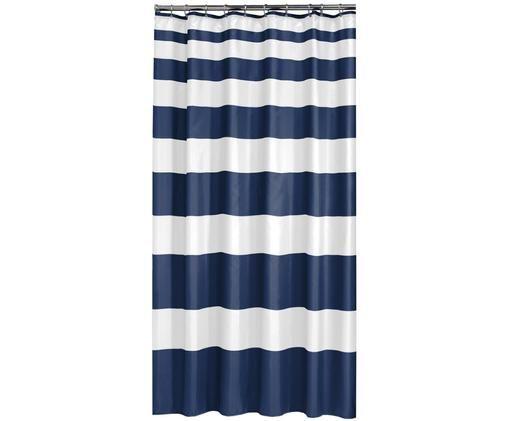 Duschvorhang Nautica mit Blockstreifen, Polyester Wasserabweisend, nicht wasserdicht, Blau, Weiß, 180 x 200 cm