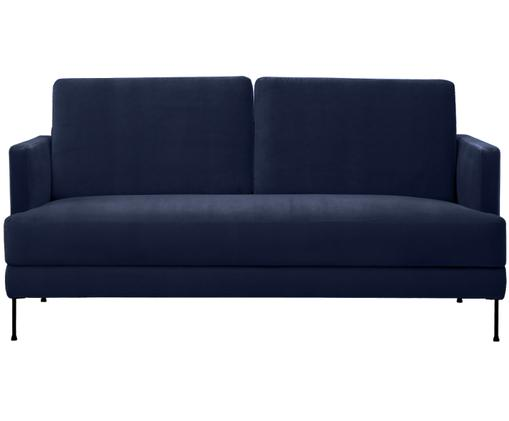 Samt-Sofa Fluente (2-Sitzer), Bezug: Samt (Hochwertiger Polyes, Gestell: Massives Kiefernholz, Füße: Metall, lackiert, Samt Dunkelblau, B 168 x T 83 cm