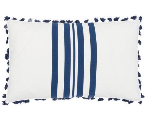 Kussenhoes Guetary, 50% katoen, 50% polyester, Marineblauw, wit, 30 x 50 cm