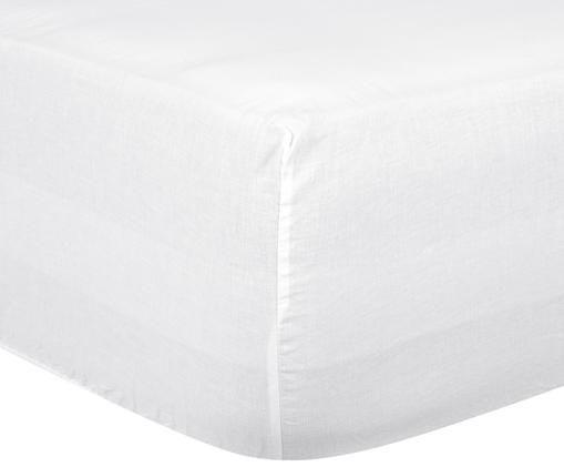 Sábana bajera de lino Carla, 52%lino, 48%algodón Con efecto Stonewash, Blanco, Cama 90 cm (90 x 200 cm)
