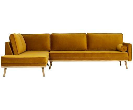 Fluwelen hoekbank Saint (4-zits), Bekleding: fluweel (polyester), Frame: massief grenenhout, spaan, Okergeel, B 294 x D 220 cm