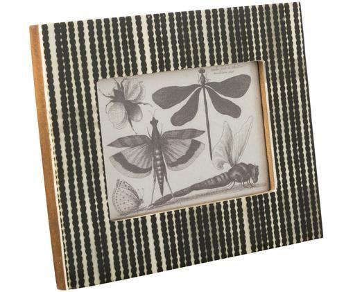 Bilderrahmen Babbit, Rahmen: Büffelknochen, Front: Glas, Rückseite: Mitteldichte Holzfaserpla, Schwarz, Weiß, 10 x 15 cm