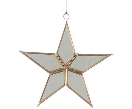 Deko-Anhänger Stern, Rahmen: Metall, Spiegelfläche: Spiegelglas, Goldfarben, Weiß, 15 x 16 cm