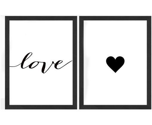 Set di stampa digitale incorniciato Love, 2 pz., Immagine: stampa digitale su carta,, Cornice: legno verniciato, Immagine: nero, bianco  cornice: nero, Larg. 33 x Alt. 43 cm