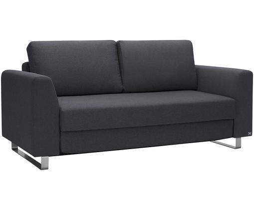 Schlafsofa Bruno (2-Sitzer), Bezug: Pflegeleichtes robustes P, Rahmen: Massivholz, Füße: Gebürstetes Metall oder B, Webstoff Anthrazit, B 180 x T 84 cm