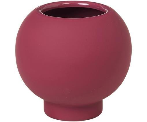 Vase Mushroom aus Steingut, Steingut, Rot, Ø 15 x H 14 cm