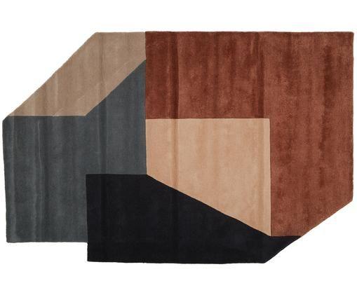 Tappeto di design Alton trapuntato a mano in lana, Antracite, grigio, rosso marrone, beige, rosa cipria