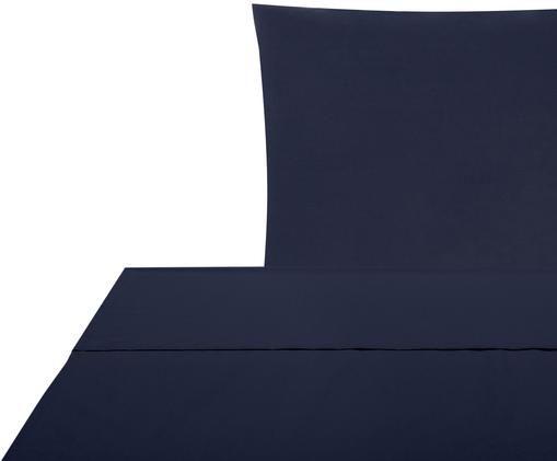Parure letto in percalle Elsie, Tessuto: percalle, Blu scuro, 150 x 300 cm