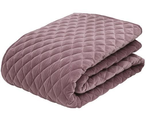 Colcha de terciopelo Cosima, Parte superior: 100%terciopelo de algodó, Reverso: 100%algodón, Malva, An 160 x L 220 cm