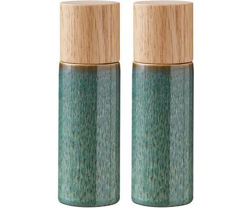Set macina spezie Bizz 2 pz, Coperchio: legno, Verde, beige, legno, Ø 5 x Alt. 17 cm