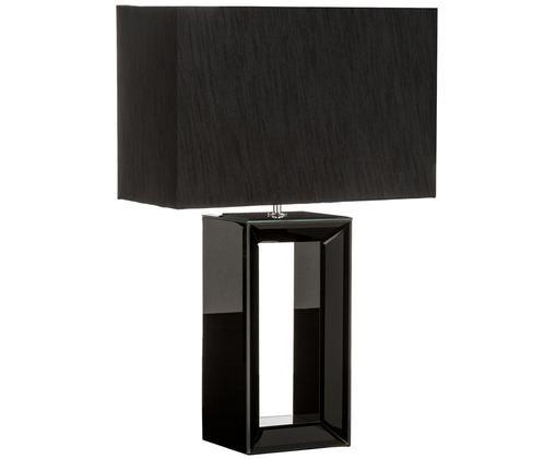 Lampada da tavolo Serafina, Base della lampada: vetro, Paralume: tessuto, Base della lampada: nero, a specchio Paralume: nero, L 38 x A 58 cm