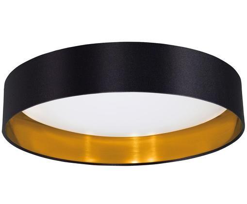 Plafonnier LED en lin Marbella, Noir, couleur dorée