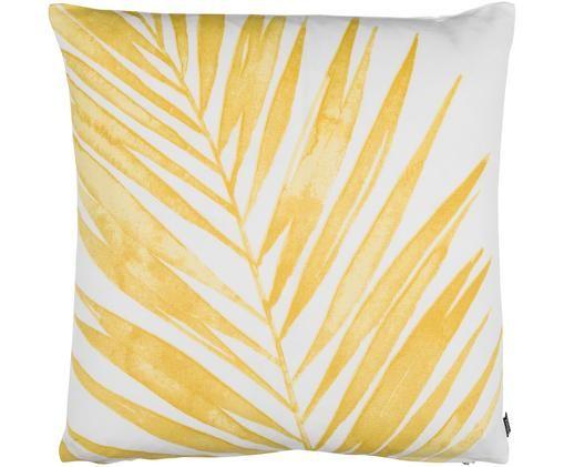 Kissenhülle Laguna mit gelbem Palmenprint, Baumwolle, Senfgelb, Weiß, 50 x 50 cm