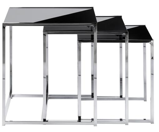 Set 3 tavolini con piano in vetro  Cleo, Struttura: metallo cromato, Piano d'appoggio: vetro temperato, Nero,argento, Diverse dimensioni