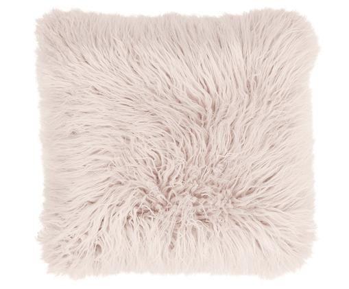 Flauschige Kunstfell-Kissenhülle Morten, gelockt, Vorderseite: 67% Acryl, 33% Polyester, Rückseite: 100% Polyester, Rosa, 40 x 40 cm