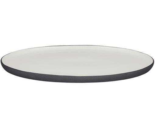 Piatto da portata fatto a mano Esrum, Sotto: gres, finitura naturale, Avorio, marrone grigio, L 39 x P 26 cm