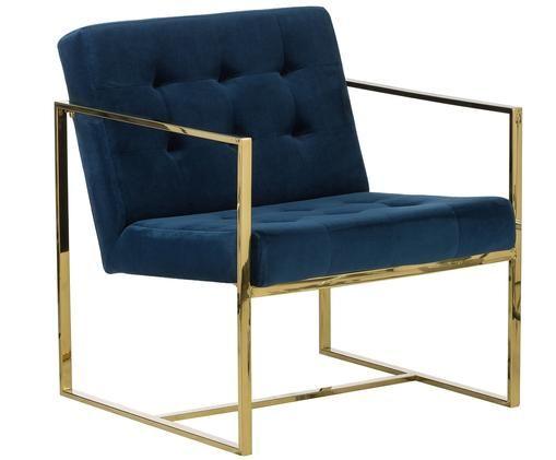 Fotel z aksamitu Manhattan, Tapicerka: aksamit (poliester), Stelaż: metal powlekany, Niebieski, S 70 x G 72 cm