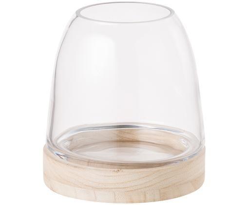 Świecznik Filio, Drewno paulownia, szkło, Jasny brązowy, transparentny, Ø 13 x W 13 cm