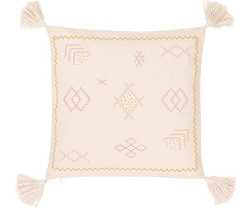 Haftowana poszewka na poduszkę Huata, Bawełna, Beżowy, blady różowy, żółty, S 45 x D 45 cm