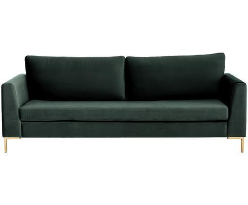Fluwelen bank Luna (3-zits), Bekleding: fluweel (polyester), Frame: massief beukenhout, Poten: gegalvaniseerd metaal, Donkergroen, B 230 x D 95 cm